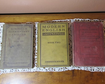 Vintage English School Books - Mismatched Set of Three