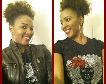 Rhinestone  Afro Tshirt