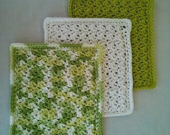 Crochet Wash Cloths, Handmade 100% Cotton, Set of 3, Green