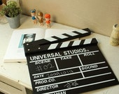 The blackboard clapperboard director board film made wooden shooting crew photographic background