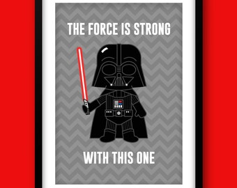 Star Wars inspired wall art, kids wall art, Star Wars, Darth Vader, Star Wars nursery, Star Wars wall art, May The Force Be With You