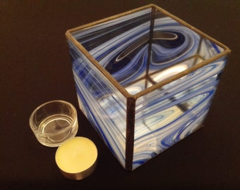 Stained Glass Tea Light Holder 10cm Cube - Votive Candle Holder - More Colours Available