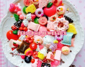 20pcs, 30pcs,Sweets Deco, Resin Kawaii, Cabochon Assortment, fake candy platter, Assorted Pack