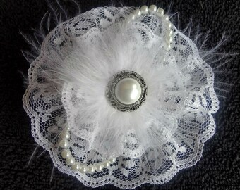 Girls White Lace Flower Bow with Boa Feathers and Pearls // Handmade