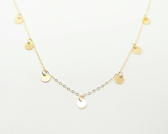 Disc, Coin Drop Necklace, Gold multi disc necklace, Or Sterling Silver - Fluttering Coin Drop Necklace -