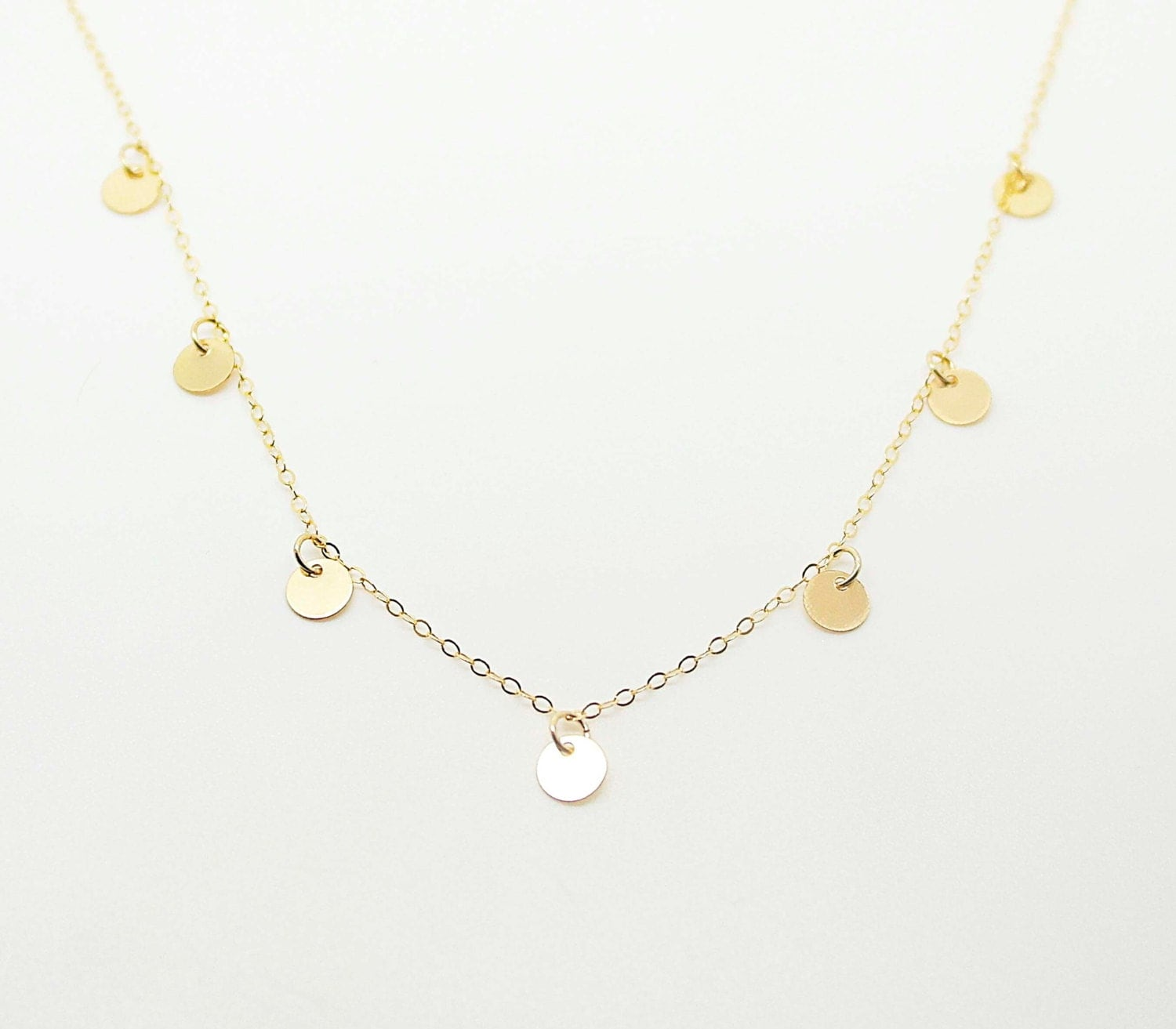disc coin drop necklace gold multi disc necklace or