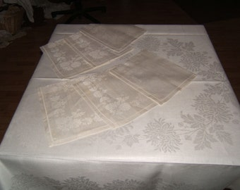 67x52 Vintage Antique White Irish Linen Doubloe Damask Tablecloth & 6 Napkins 074