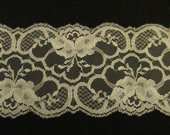"""Ivory Floral Lace 3.5"""" wide"""