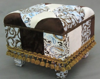 Custom Made Patchwork Upholstered and Button Tufted Ottoman in Sophisticated Blend of Blue and Brown Plush Fabrics with Designer Trim