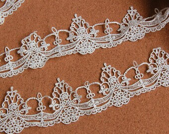 White Floral Lace Trim Embroidery Hollowed Out Lace Trim 1.96 Inch Wide 2 Yards L087