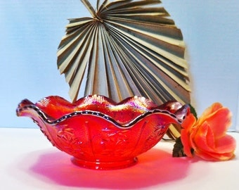Beautiful  Red Open Rose Imperial Carnival Glass Ruffled Bowl / Carnival Glass / Red Carnival Glass / Open Rose / Glass Ruffled Bowl / Red /