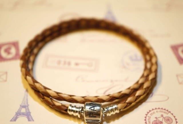 Pandora braided leather bracelet two- tone brown white