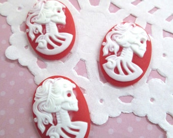 18x25mm Red Skeleton Cameo Cabochons, Day of the Dead, Lady Cameos
