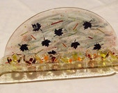 Luxurious and Unusual Fused Glass Hanukkah Menorah Inspired By Judean Desert in WInter.