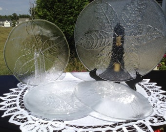 Vintage Kosta Boda Party Leaf Series Appetizer Platter And 4 Matching Plates Designed By Goran
