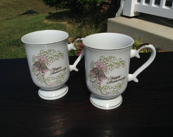 On Sale **  George Good ~ Happy Anniversary Pedestal Mugs or Cups Gold Trim ~ Set of Two ~ Japan