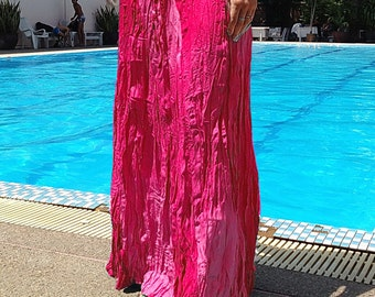 Long Gypsy Skirt - Boho- Lightweight - Elasticated Waist - Fade Tones-Pink
