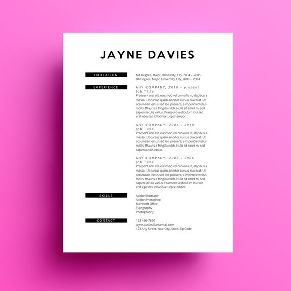 resume template free cover letter instant download