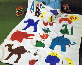 Vintage Zoo Crochet Baby Afghan Pattern Tunisian Afghan Stitch Pattern Graph Crocheted Infant Gift to Make Instant Digital PDF Download