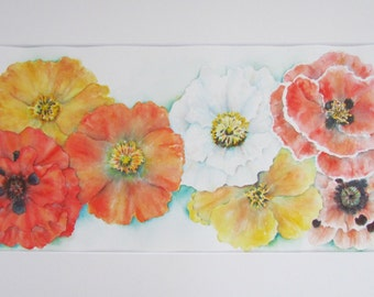 Original watercolor painting of Poppies, ready to frame and hang.