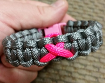 Breast Cancer Awareness Paracord Bracelet.  Many Colors Available.