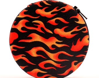 Hot Rod Flames Designer Round Zippered 7-Day Travel Pill Case Box Harley