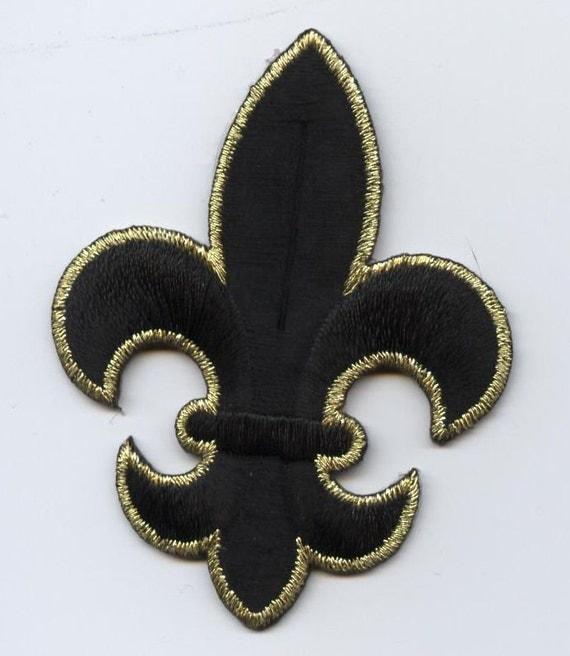 Fleur De Lis Large Black And Gold Iron On By Wholesaleapplique