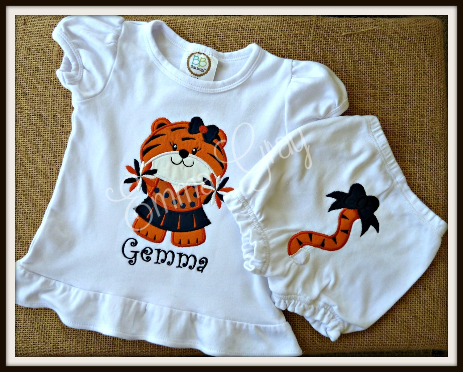 Personalized Auburn Baby Cheer Tiger Top with Tiger Tail