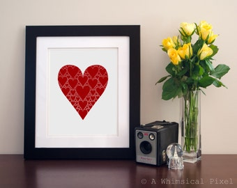 INSTANT DOWNLOAD Pink Love Heart Art Print 8x10 Wedding, Anniversary Gift   Romance
