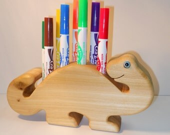 Handmade Wooden Dinosaur Marker Holder