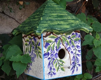 Wisteria Bird Abode - Painted Handmade Wooden Bird House