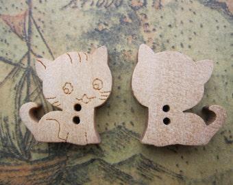 12Pcs 14x15mm Wooden Buttons Cat Design Assortment Wood Buttons FF