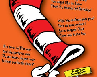 Dr. Suess invitation for a child's birthday party.