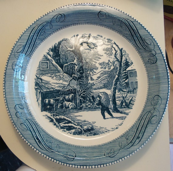 Currier and ives pie plate vintage blue and white