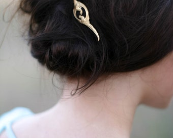 Love Birds Hair Pin Gold Bird Hair Clip Woodland Bobby Pin Joined Pheasants Hair Accessory Woodland Wedding Hair Pin