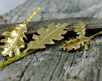 Gold Oak Leaf Bobby Pins Oak Leaves Hair Clips Fall Hair Accessories Mixed Set Mini Pins and Regular Size   So Cute!