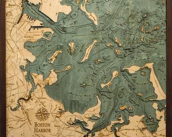 Wood Chart of Boston Harbor, Massachusetts  24.5x31 - Laarge