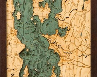 Wood Chart of Lake Champlain, New York / Vermont,  13.5x43 - Narrow