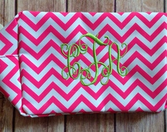 Monogrammed Chevron Cosmetic Bag, Makeup Bag, Bridesmaid Gift