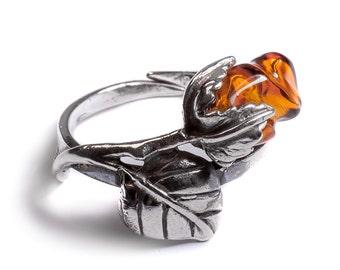 Henryka Cognac Amber & Silver English Rose Adjustable Flower Ring