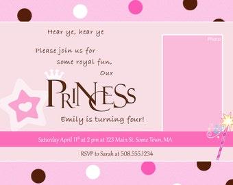 PRINCESS Birthday Invitation with Photo - PRINTABLE!