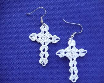 Crochet Cross Dangle Earring