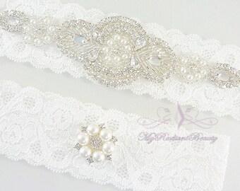 Bridal Garter, Garter Belt, Garter, Wedding Garter, Rhinestone Garter Set, Crystal Applique Garter, Handmade Garter, Beaded Garter GTA0062