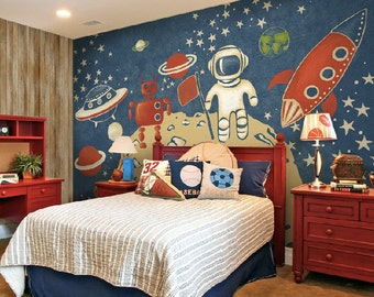 Space Exploration Wallpaper Astronaut Spaceman Apollo Moon Landing Planet Rocket UFO Spacecraft Wall Decal Art Bedroom Blue Red