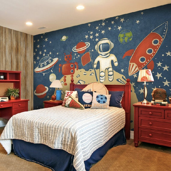 Items similar to space exploration wallpaper astronaut for Space themed bedroom wallpaper