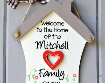 Personalised welcome to our home plaque with heart embellishment