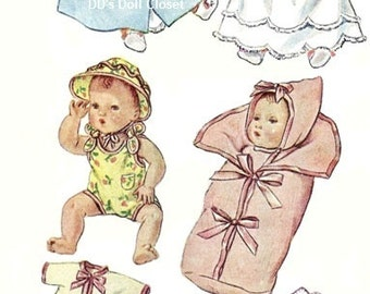 """Pattern 2537-11"""" ~ 7 Piece Layette with Booties & Diaper ~ Vintage Baby Doll Pattern"""