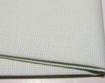 Miracle Mint Zweigart 16 count Aida fabric, colour ref no 6150, size 37.5 x 45 cm.  Unusual colour. Now discontinued by Zweigart.