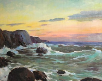 European art oil painting 50's seascape sunset signed