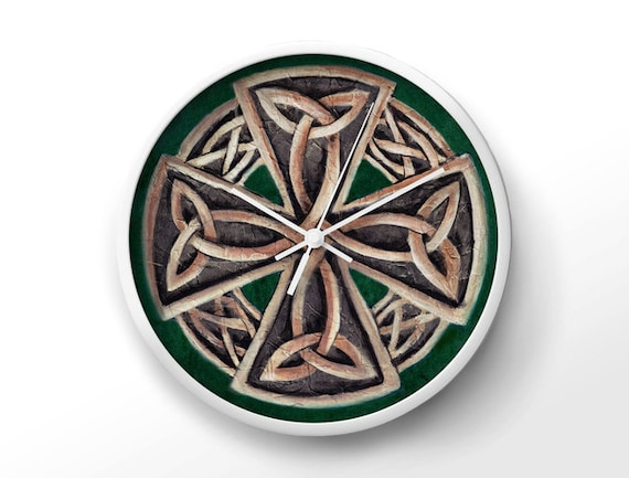 Green celtic wall clock viking home decor by uniquearthome for Celtic decorations home